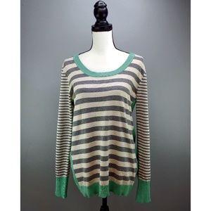 Olive & Oak Striped Scoop Neck Sweater Mint Cuffs